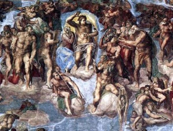 'Phán xét cuối cùng': năm 1541, bích họa, nhà thờ Cappella Sistina, Tòa thánh Vatican (Thành quốc Vatican) (Artrenewal.org)