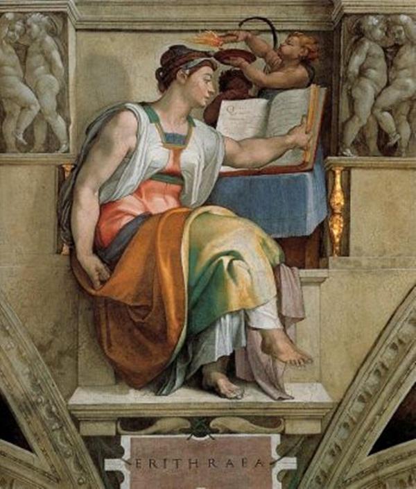 ERYTHRAE: 'Cô đồng Erythrae,' bích họa, nhà thờ Cappella Sistina, Tòa thánh Vatican. (Artrenewal.org)