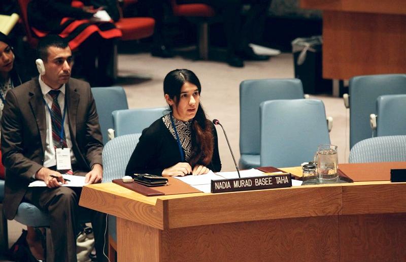 Nadia Murad Basee Taha tại một cuộc họp của Hội đồng Bảo an về nạn buôn bán người trong hoàn cảnh xung đột. (Ảnh: yazda.org)