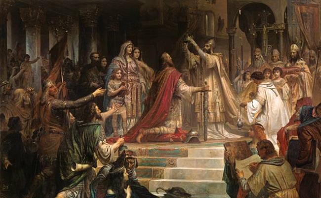 Charlemagne được giáo hoàng trao vương miện. Hình minh họa