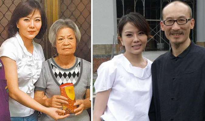 Bà Lê A Mỹ và nữ diễn viên Tiểu Phan Phan (hình trái). Hai vợ chồng diễn viên Tiểu Phan Phan (hình phải).