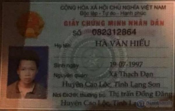 Giấy tờ tùy thân cho thấy đối tượng có tên Hà Văn Hiếu, SN 1997, quê Lạng Sơn.