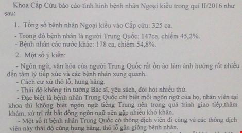 Báo cáo của bệnh viện về tình hình bệnh nhân Ngoại kiều trong quý II/2016.