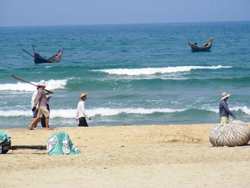 Người dân Lăng Cô đi dọc biển săn cá dạt vào bờ