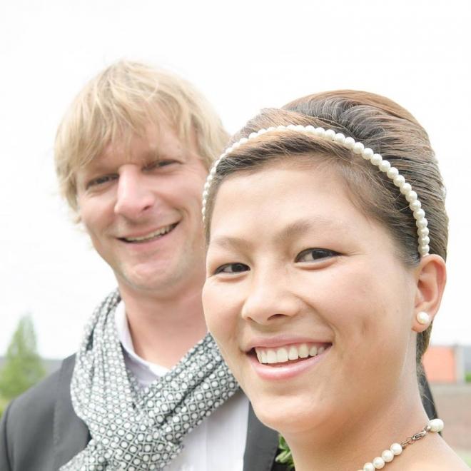 Mai hạnh phúc bên chồng Steve.