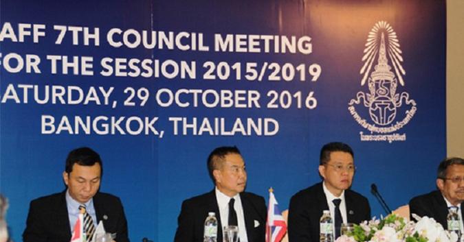 Cuộc họp của LĐBĐ Đông Nam Á hôm 29-10 bàn về việc các nước cùng đấu thầu đăng cai World Cup. Ảnh AFF