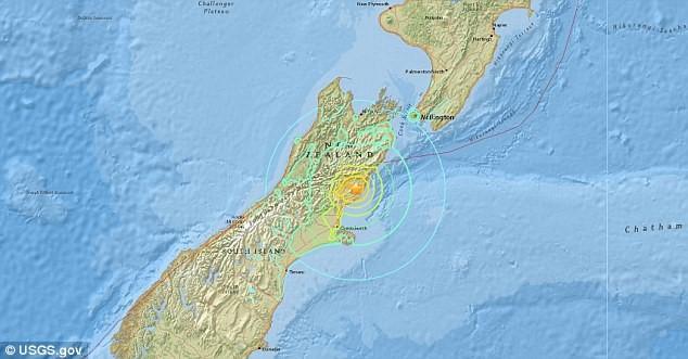 Tâm chấn của trận động đất ở cách thành phố Christchurch thuộc Đảo Nam 95km. New Zealand là quốc gia nằm trên vành đai lửa Thái Bình Dương, nơi thường xuyên xảy ra động đất và phun trào núi lửa. (Ảnh: USGS.gov)