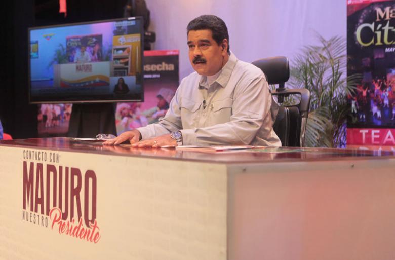 """Venezuela's President Nicolas Maduro speaks during his weekly broadcast """"En contacto con Maduro"""" (In contact with Maduro) in Caracas"""