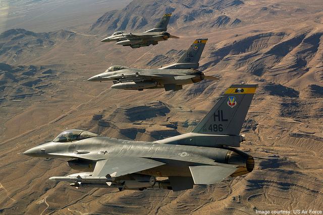 Chiến cơ F16 thực hiện vụ tấn công Jabal al-Thadar.