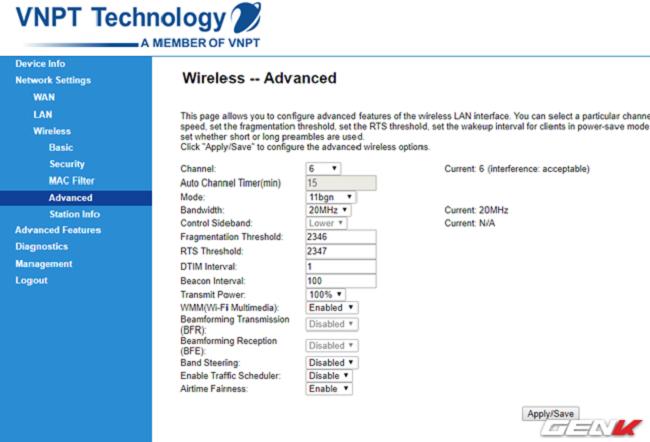 """Khi đã hoàn tất việc đăng nhập, bạn hãy truy cập vào phần thiết lập wireless và tìm đến mục thiết lập """"Channel"""" và """"Bandwidth""""."""