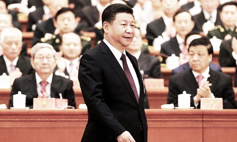 Chủ tịch Trung Quốc Tập Cận Bình tại Đại lễ đường nhân dân Bắc Kinh trong phiên khai mạc Đại hội 19 của ĐCSTQ, sáng ngày 18/10/2017 (Ảnh: REUTERS/ China Daily)