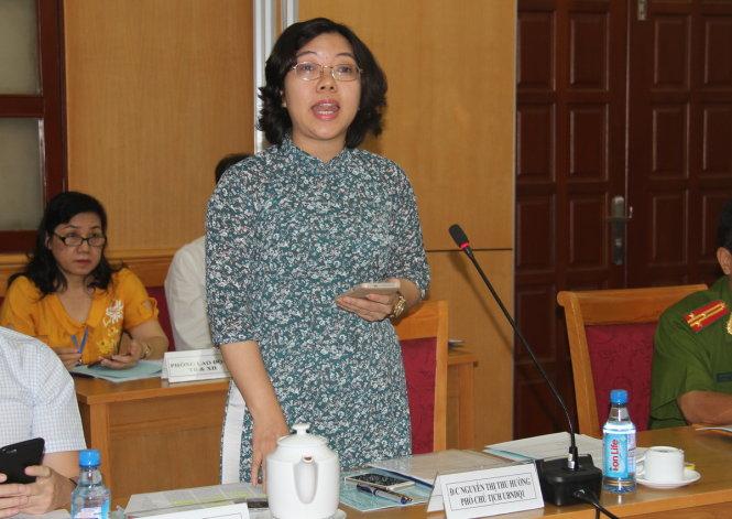 Bà Nguyễn Thị Thu Hường tại cuộc họp báo sáng 29/3.