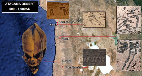 Bây giờ chúng ta sẽ kiểm tra một số geoglyphs rất cụ thể từ Valle de Lluta, Azapa, Chiza và các trang web Cerro Pintados, trong sa mạc Atacama. La Noria, ngôi làng nhỏ nơi Ata đã được tìm thấy, nằm bên trong cùng khu vực này ở miền bắc Chile.