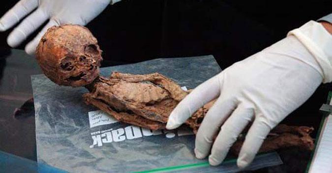 Xác ướp người lùn tìm được. Qua khám nghiệm, người này 17 tuổi, nhưng chỉ cao 25 cm. (Ảnh: Internet)