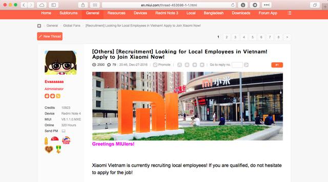 Bài post tuyển dụng tại thị trường Việt Nam từ diễn đàn MIUI quốc tế.