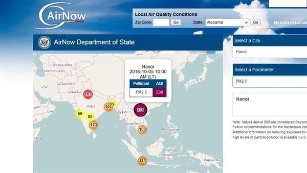 Số liệu mới nhất về tình trạng ô nhiễm không khí tại Hà Nội trên trang web Airnow của Bộ Ngoại giao Mỹ (chú ý: số liệu liên tục được cập nhật theo thời gian thực)