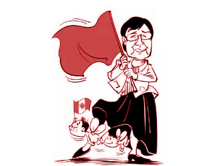 Một bức tranh biếm họa về lòng yêu nước và tình mẫu tử của cô Lin đang được lan truyền trên mạng (ảnh: Hongkongfp.com)