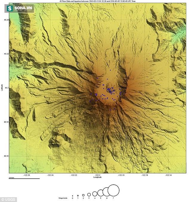 Hình ảnh từ đài quan sát cho thấy, các trân động đất nhỏ liếp xảy ra.