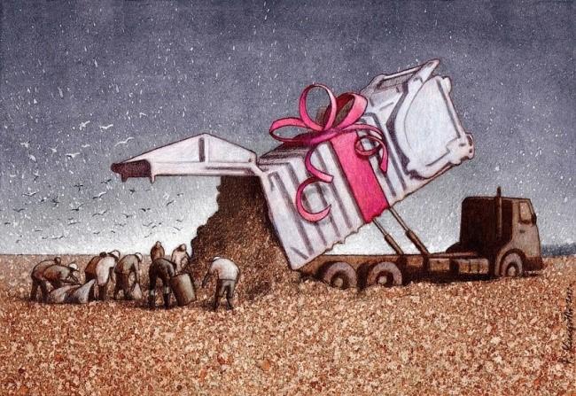 Bức ảnh này lột tả thực tế đáng buồn trong xã hội, khi đồ bỏ đi của một số người có thể là món quà quý giá đối với nhiều người khác.