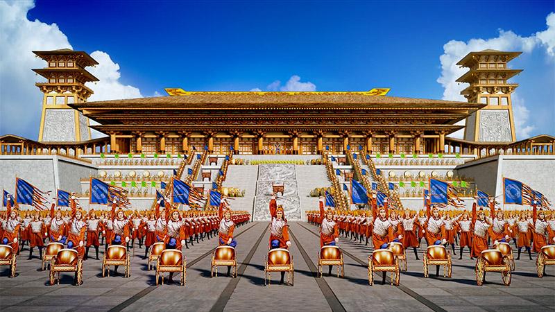 Khung cảnh sân khấu trong 1 buổi biểu diễn của đoàn nghệ thuật Shen Yun