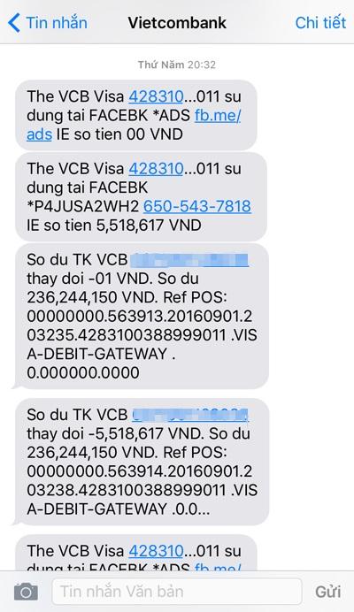 Với 4 giao dịch chuyển tiền thành công, tôi nhận được khoảng mười mấy tin nhắn dồn dập gửi đến điện thoại. Tá hoả, kiểm tra lại thì tôi vẫn thấy thẻ còn trong ví và trước giờ chưa bao giờ tiết lộ mật mã cá nhân cho ai
