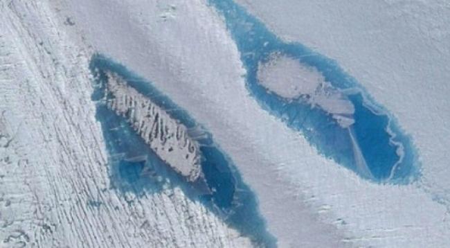 Các nhà khoa học cho biết tại Nam Cực đã hình thành hàng nghìn hồ nước do băng tuyết tan. (Ảnh: Vệ tinh)