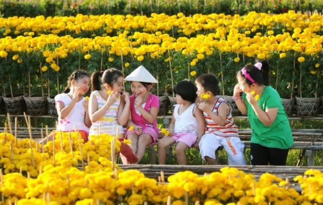 Nụ cười của trẻ bên hoa xuân.