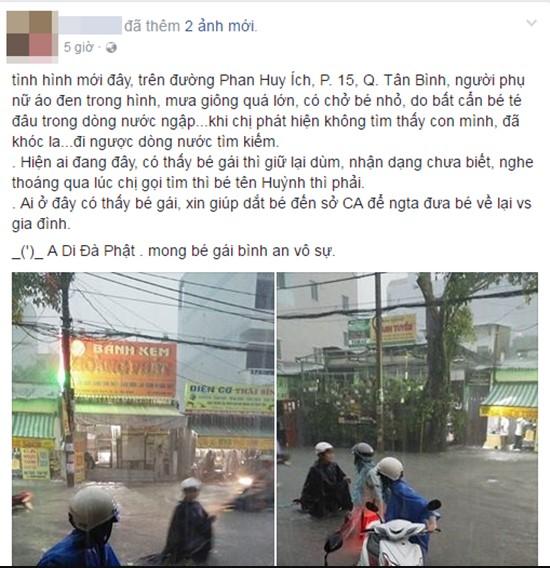 Người mẹ hớt hải lội nước ngập tìm con bị thất lạc trong trận mưa kinh hoàng ở Sài Gòn.1