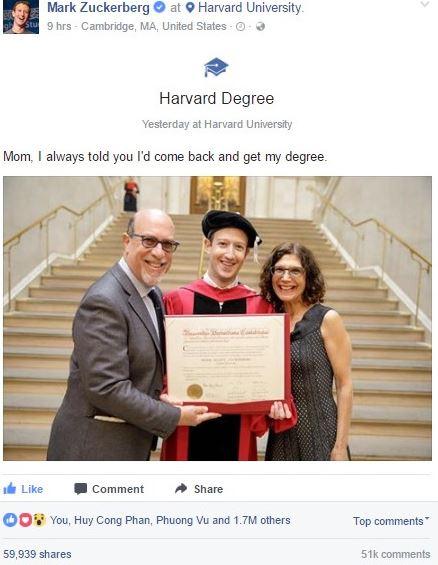 """""""Dấu mốc"""" tốt nghiệp ĐH Harvard trên trang cá nhân của Mark Zuckerberg."""