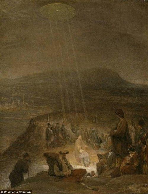 """UFO trong bức tranh """"Lễ rửa tội của Chúa""""."""
