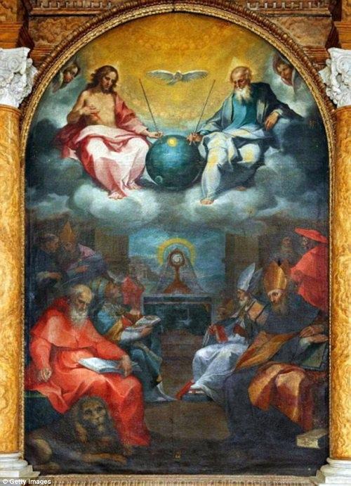 """UFO trong bức tranh """"Sự ca ngợi Chúa trời"""""""