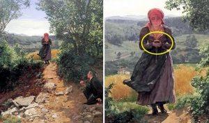 Cô gái trong bức tranh thế kỷ 19 cầm smartphone?