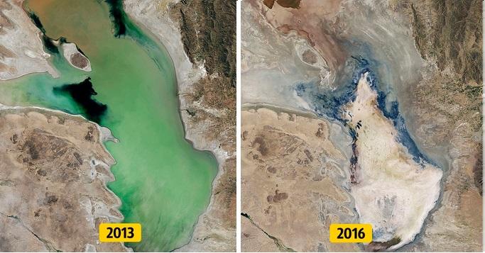 Nước trong hồ Poopó ở Bolivia đã hoàn toàn khô cạn chỉ sau 3 năm. (Ảnh: Climate.nasa)