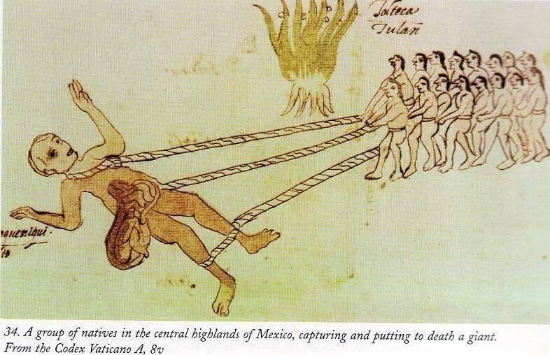 Một nhóm người bản địa tại vùng cao nguyên trung tâm Mexico, đang bắt giữ một người khổng lồ. (Ảnh: Codex Vaticano A, hình 34)