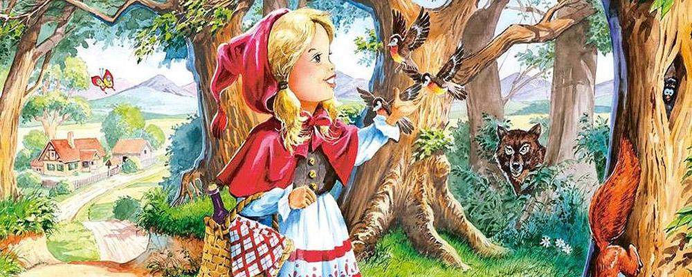 Cô bé quàng khăn đỏ đi qua rừng