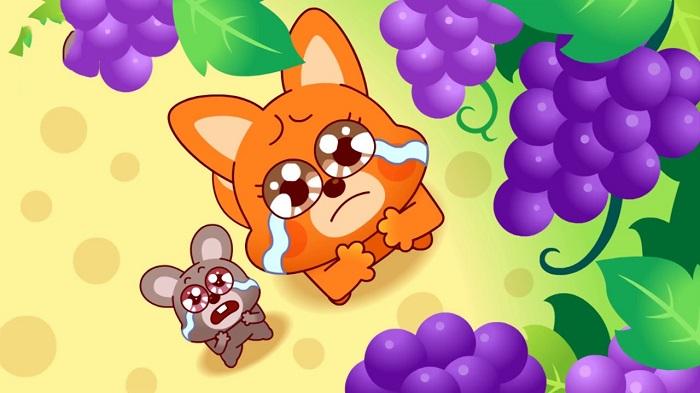 Con cáo thứ năm tới dưới giàn nho, nó vừa nhìn bản thân so với giàn nho thực sự quá nhỏ bé, liền cảm thấy thương tâm mà khóc lên.(Ảnh: Internet)
