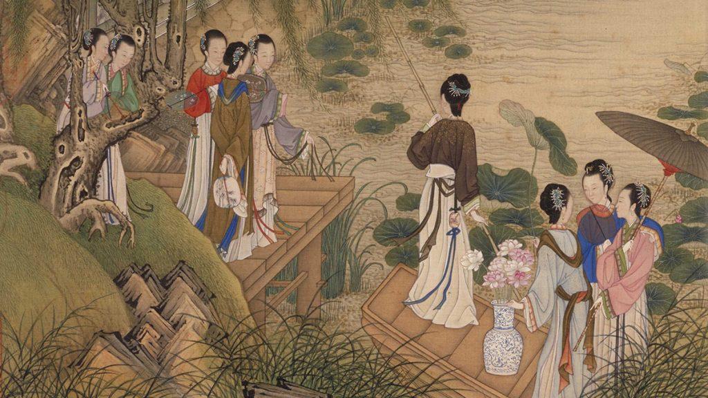 """""""Giang buồm lầu các đồ"""" thời Bắc Tống của Lý Tư Huấn."""