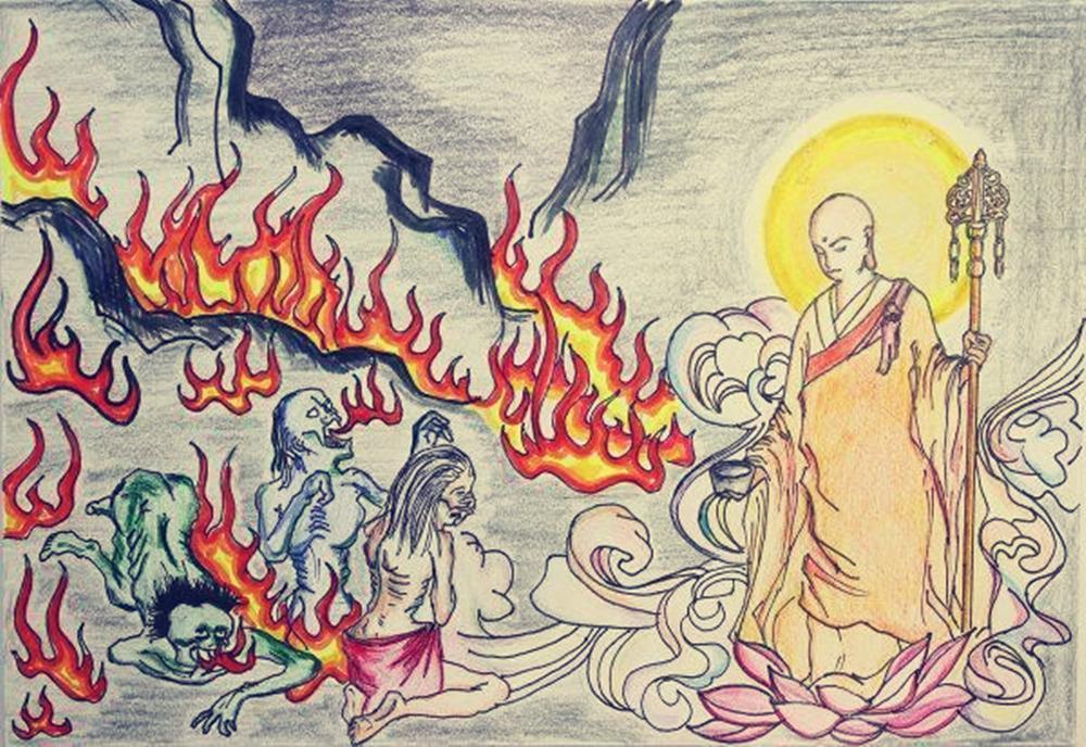 Mẹ của Mục Kiền Liên lúc còn sống đã gây ra tội nghiệp quá nặng, nên khi chết bị rơi vào địa ngục ngạ quỷ, ngay cả khi thức ăn được đưa lên đến miệng, cũng sẽ hóa thành than tro.