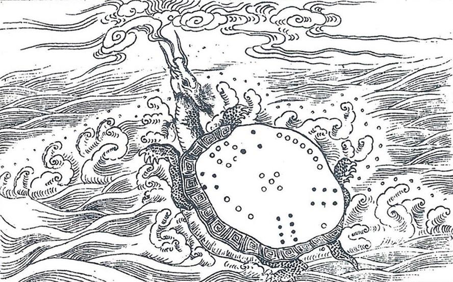 Lúc Đại Vũ trị thủy, một rùa thần từ trong sông Lạc cõng theo văn tự mà lên.