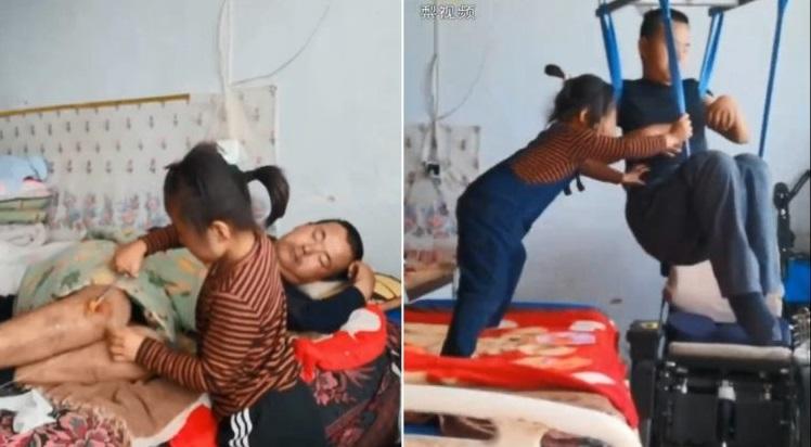 Xúc động em bé 6 tuổi một mình chăm sóc người cha bị tàn tật