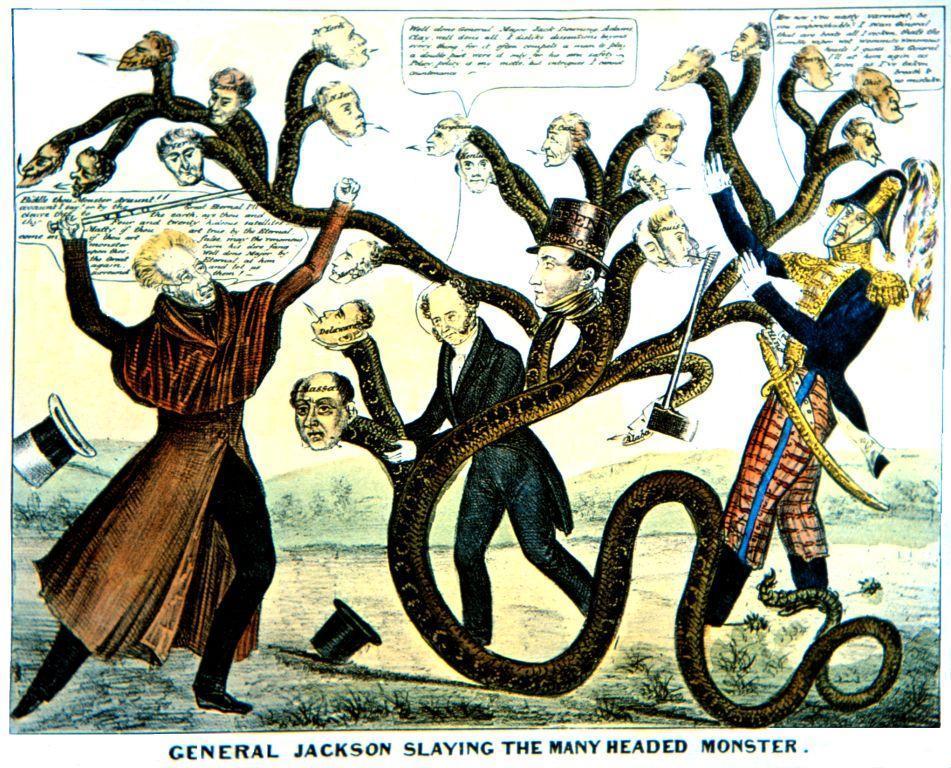 """Bức tranh mô tả Tổng thống Andrew Jackson chống lại tập đoàn """"rắn hổ mang"""" ngân hàng. (Tranh qua neh.gov)"""