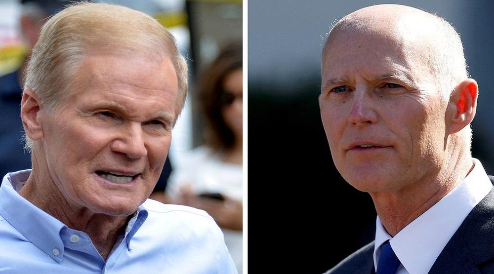 Chưa có chiến thắng cuối cùng đối với hai ứng cử viên tranh ghế Thượng viện Bill Nelson, Đảng Dân chủ (trái) và Rick Scott, Đảng Cộng hòa. (Ảnh qua REUTERS)
