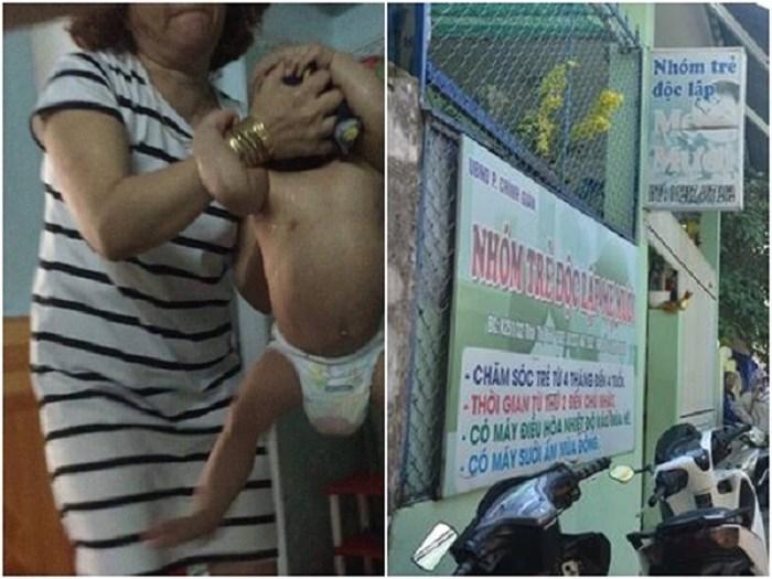 HÌnh ảnh bà Đinh Thị Hồng hành hạ trẻ em và bảng hiệu cơ sở giữ trẻ Mẹ Mười.
