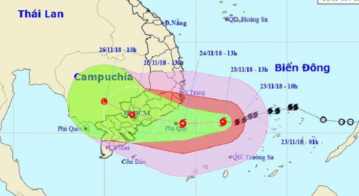 Vị trí và hướng di chuyển của bão số 9. Ảnh 1