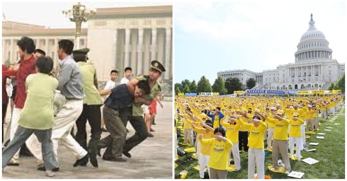Sự tương phản giữa Trung Quốc và Hoa Kỳ, nhìn từ cuộc đàn áp Pháp Luân Công: Ảnh bên trái là công an Trung Quốc bắt bớ các học viên Pháp Luân Công tại quảng trường Thiên An Môn. Ảnh bên phải là hàng ngàn học viên Pháp Luân Công từ nhiều quốc gia tập luyện bên cạnh tòa nhà Nghị viện Hoa Kỳ, thủ đô Washington (Ảnh: Fofg/Minghui)