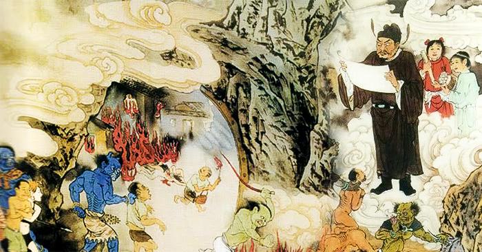 Một vị Phán Quan tuyên đọc những hình phạt cho tội nhân