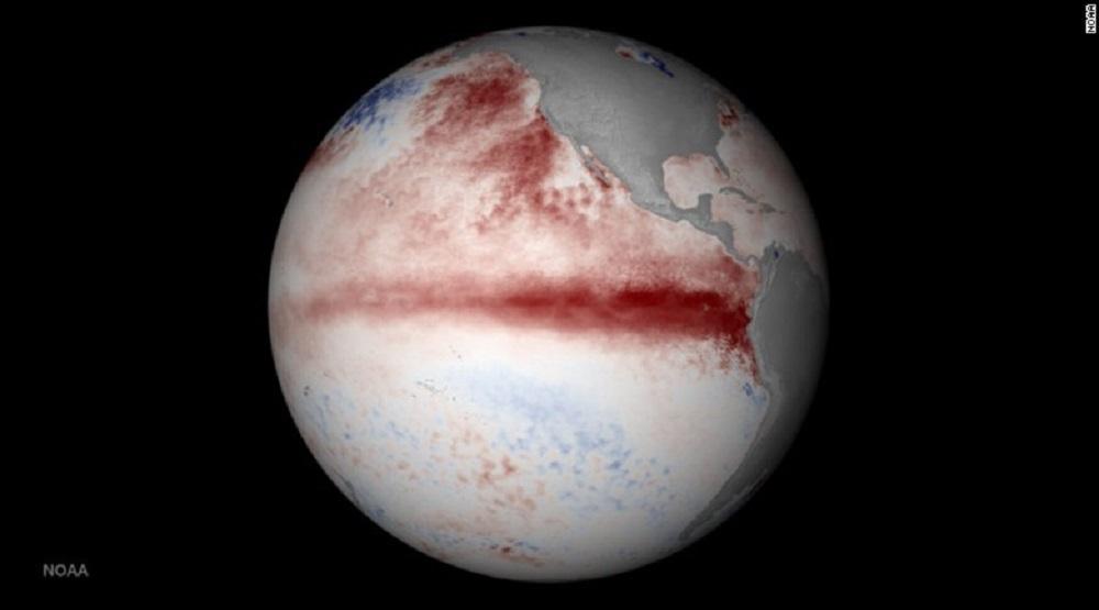Vùng màu đỏ trong hình chụp từ vệ tinh chỉ ra vùng nước biển nóng hơn bình thường trong đợt El Nino 2015-2016. (Nguồn: Internet)