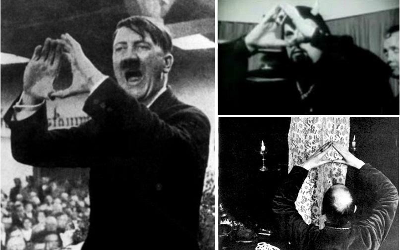 Adolf Hitler ra dấu tay kim tự tháp - biểu tượng của Illuminati và thờ hụng Satan. (Ảnh qua jewishpaedophilia.files.wordpress.com)
