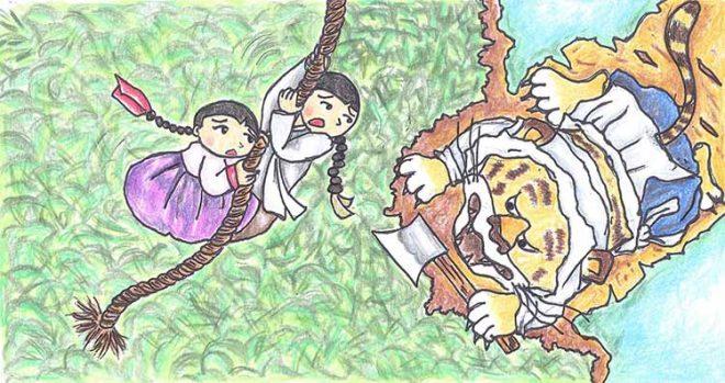 Hai đứa trẻ nắm lấy dây bay lên. (Tranh minh họa qua asianfolktales.unescoapceiu.org)