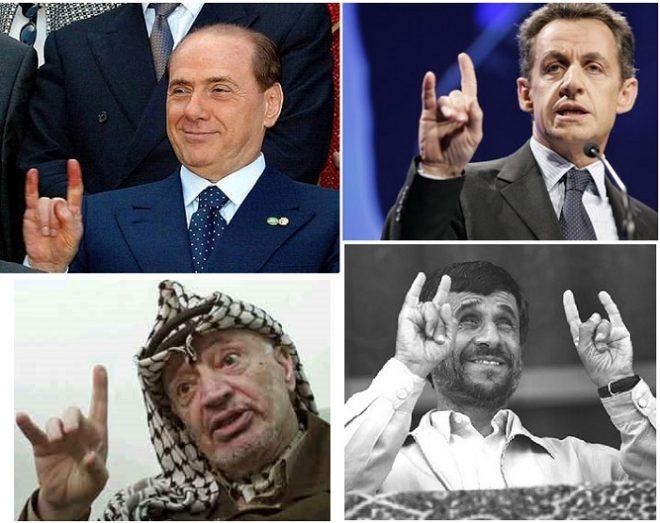 Lần lượt từ trải qua phải là Cựu thủ tướng Ý Berlusconi,Cựu Tổng thống Pháp Sarcozy,Cố Tổng thống Plastine Yasser Arafat, Cựu Tổng thống Iran Ahmadinajad